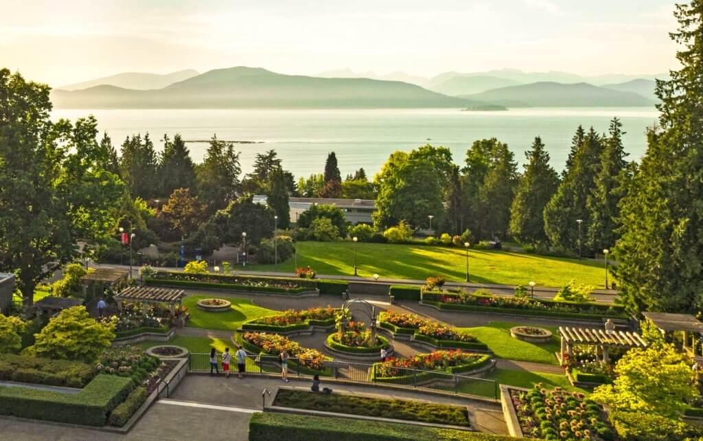 View of Pacific Ocean at UBC Vancouver's Rose Garden