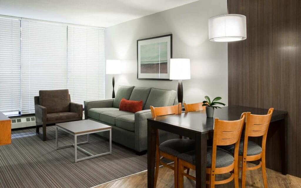 The interior of a hotel room at West Coast Suites, a full-service hotel at UBC Vancouver